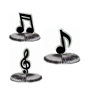 Assorted Foil Mini Music Notes Centerpiece- 3pc