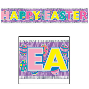 Metallic Happy Easter Fringe Banner