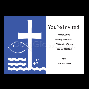 Blue Fish and Cross - Custom Invitations
