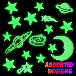 Fun Central O632 Glow in the Dark Stickers - Solar System