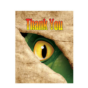 Dino Blast Foldover Thank You Cards- 8ct