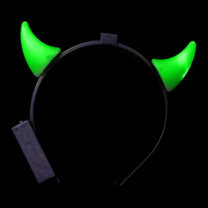 LED Devil Horns Headband - Green