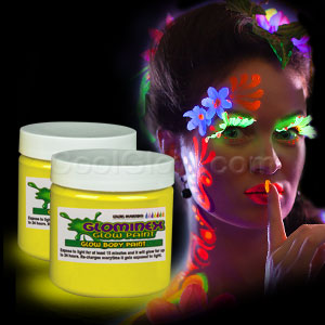 Glominex Glow Body Paint 4 oz Jar - Yellow