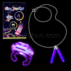 Glow Ring and Anklet Set - Purple
