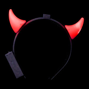 LED Devil Horns Headband - Red