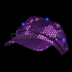 LED Sequin Newsboy Hat - Purple