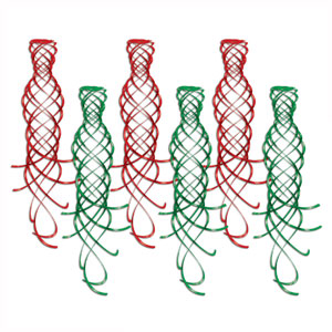Red and Green Shimmering Whirls - 6ct