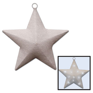 White Light-Up Sparkle Star - 16in