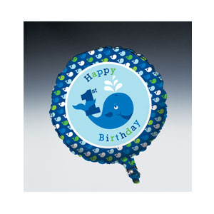 Ocean Preppy Happy Birthday Balloon - Metallic