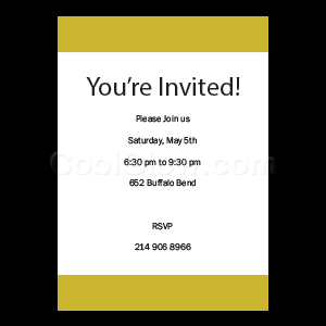 Gold White Stripe - Custom Invitations