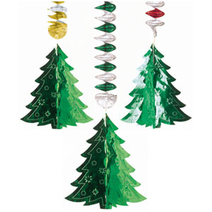 Christmas Tree 3D Foil Danglers- 30 Inch 3ct
