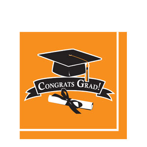 Grad Luncheon Napkins - Orange