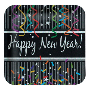 New Year Sparkle 9 Inch Plates