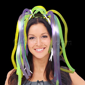 Fun Central AD631 LED Light Up Party Dreads - Green Yellow Purple