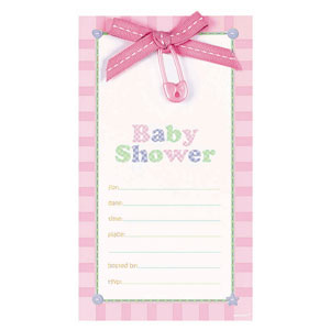 Safety Pin Fill-In Invitation - Pink