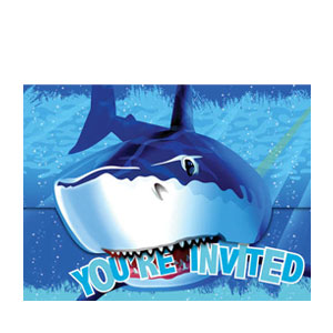 Shark Splash Diecut Invitations- 8ct