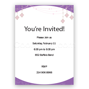Purple Glitz - Custom Invitations