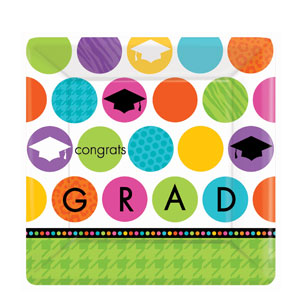 Colorful Commencement 10 Inch Square Plates- 18ct