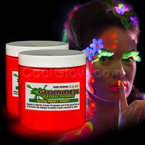 Glominex Glow Body Paint 8oz Jar - Red
