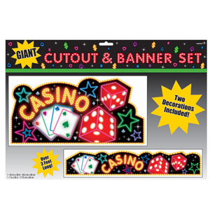 Casino Cutout and Banner Set- 2pc