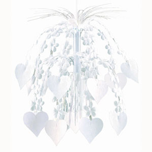 Flowers & Hearts Cascade- White 24 Inch