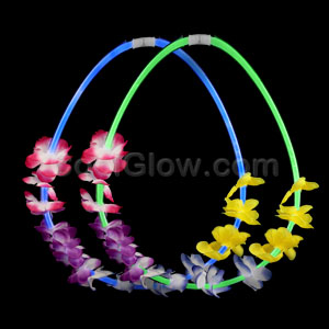 22 Inch Flower Lei Glow Necklaces - Assorted