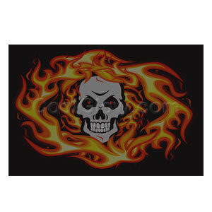 LED Sound Activated Patch - Skull and Flames