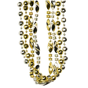 Fashion Silver and Gold Bead Necklaces- 4ct