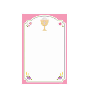 Communion Pink Imprintable Invitations- 12ct