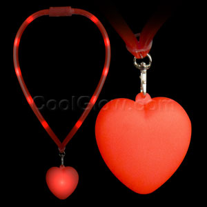 LED Flashing Lanyard - Red Heart
