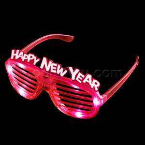 LED New Year Shutter Slotted Shades - Red