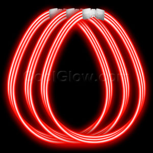 22 Inch Super Wide Glow Necklaces - Red