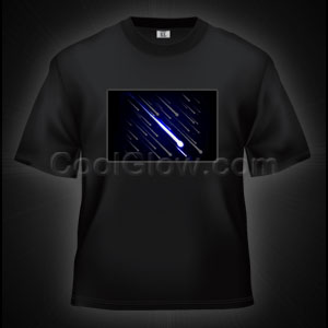 LED Sound Activated T-Shirt -Shooting Stars