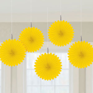 Mini Hanging Fan Decor- Yellow 5ct