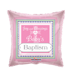 Baby's Baptism Pink Balloon- 18in