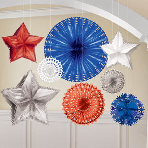 Red White and Blue Starburst Decoration Kit- 8pc