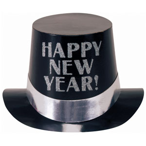 Black Foil with Silver Glitter Happy New Years Top Hat- 6 Inch