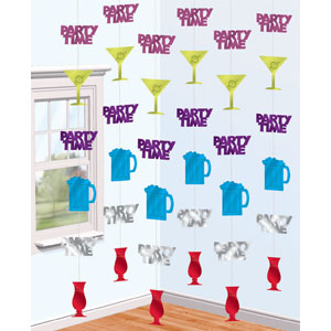 Time To Party 7 Foot String Decorations- 6ct