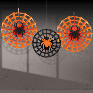 Spider Web with Spiders Fan Decorations- 3ct