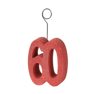 60th Red Glittered Balloon Holder