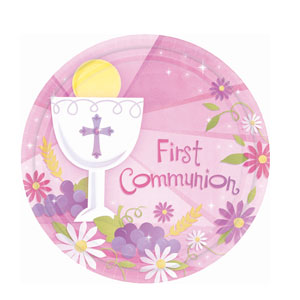 First Communion Pink 10 Inch Plates- 18ct