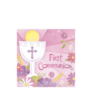First Communion Pink Beverage Napkins- 36ct
