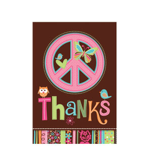Hippie Chick Thank You Cards- 8ct