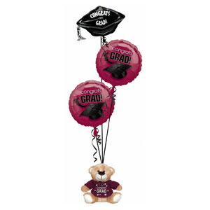 Maroon Grad Bear Balloon Bouquet- 4pc