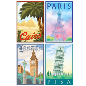 International Travel Cutouts- 4ct