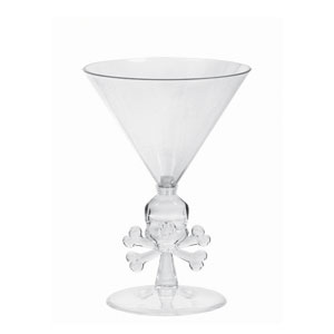 Skull and Bones Martini Glass- 8oz.
