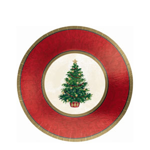 Classic Christmas Tree 7 Inch Metallic Plates