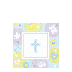 Sweet Christening Blue Beverage Napkins- 16ct
