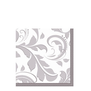 Silver Elegant Scroll Beverage Napkins- 16ct