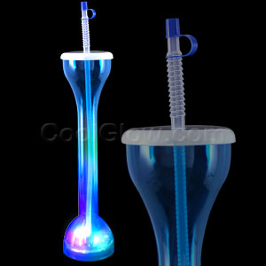 LED Drinking Bottle with Straw - Blue